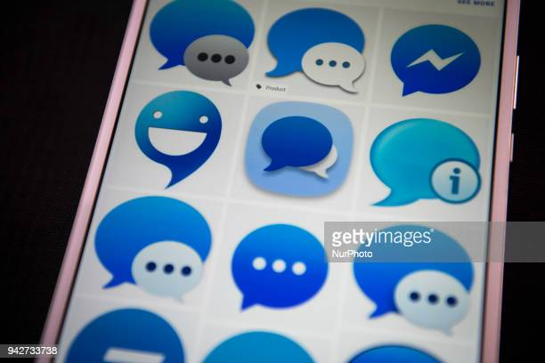 An illustration picture taken on a smart phone on April 6 2018 in Tokyo shows the messenger icon of the social networking app Facebook