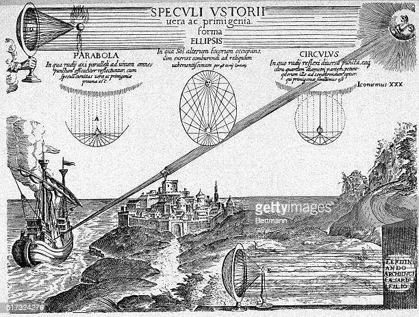 An illustration showing sun rays and a mirror used to set fire to Roman ships at Syracuse Kircher explored and illustrated the burning mirror...