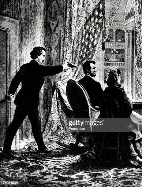 1865 An illustration showing the assassination of US President Abraham Lincoln by John Wilkes Booth at Ford's Theatre