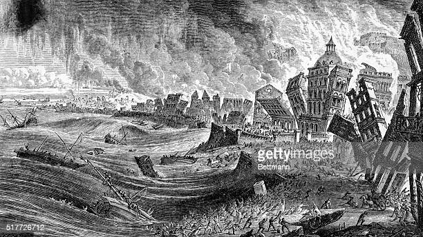 An illustration showing the bank of the Tagus River from Volcanoes and Earthquakes A Popular Description in the Movements in the Earth's Crust by...