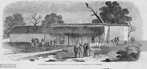 An illustration showing the location of a massacre in Cawnpore India In 1858 Sepoys dissatisfied with foreign rule rose and slaughtered the European...