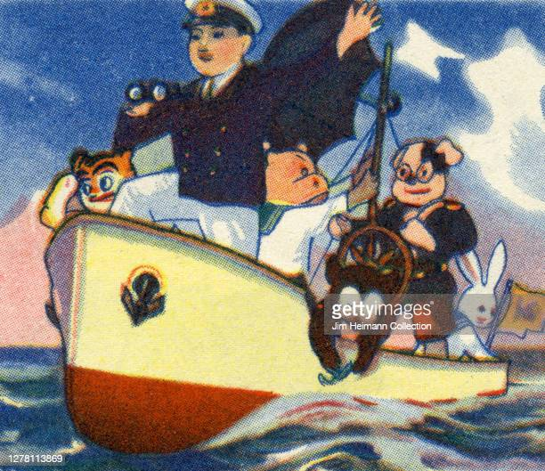An illustration shows a boat in the water with a curious assortment of characters including a bunny, a dog, a hippo, and a captain, circa 1935.