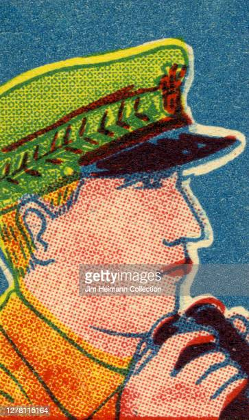 An illustration shows a closeup of an army officer holding binoculars as he gazes off into the distance circa 1940