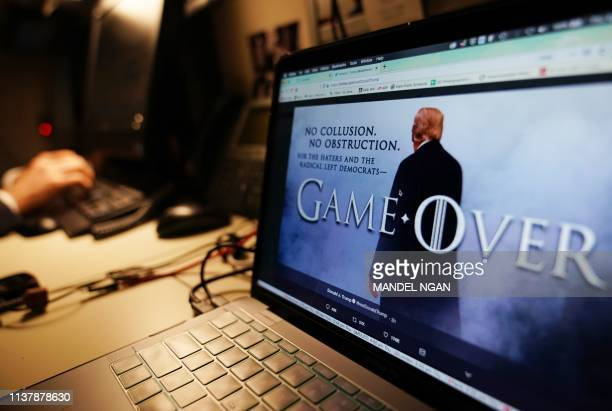 TOPSHOT An illustration shows a Game of Thronesstyled montage from US President Donald Trump's twitter page in Washington DC on April 18 2019 US...