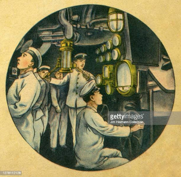 An illustration shows a group of men inside of a submarine operating various forms of machinery circa 1939