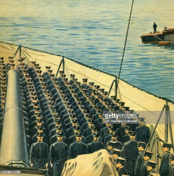An illustration shows a large group of military men on a boat standing in perfect formation beneath a cannon circa 1940