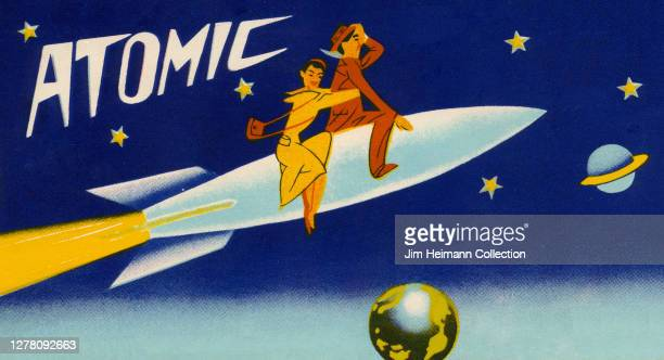 An illustration shows a man and a woman riding a rocket like a horse as it shoots through outer space with stars and plants all around them, circa...
