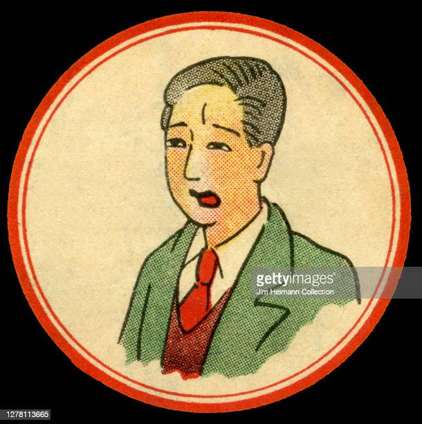 An illustration shows a man in a coat and tie with a distressed look on his face circa 1934