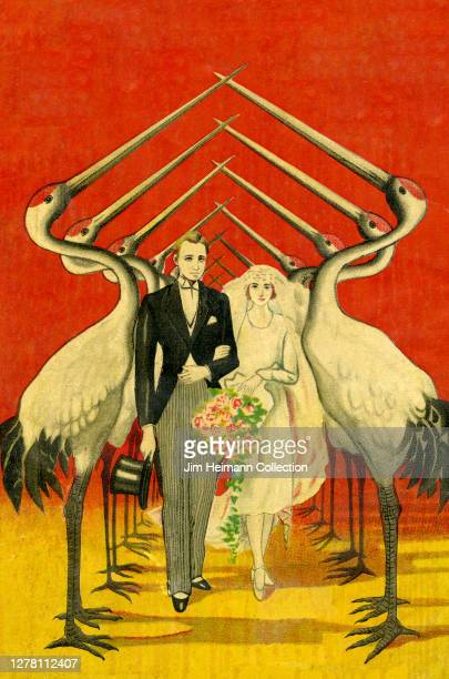 An illustration shows a newlywed couple walking through a canopy of cranes circa 1938