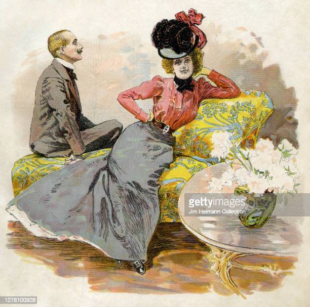An illustration shows a Victorian man and woman sitting in repose on a yellow chaise lounge, circa 1900.