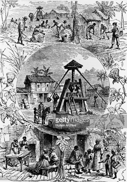An illustration shows a vignette of five aspects of slave life on a plantation in the American South 19th Century The scenes include harvest planting...