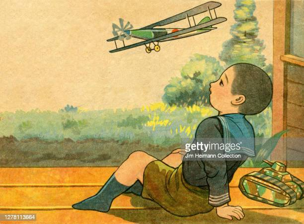 An illustration shows a young boy sitting on the porch of his house as a Japanese war plane flies by overhead circa 1934