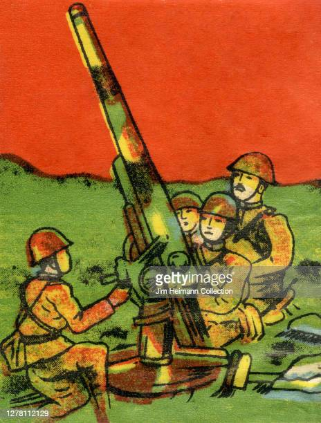 An illustration shows four army men huddled around a cannon against the backdrop of a blood red sky circa 1940