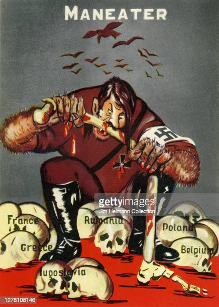 """An illustration titled """"Maneater"""" shows a likeness of Adolf Hitler chewing on a bone with human skulls representing different countries at his feet,..."""