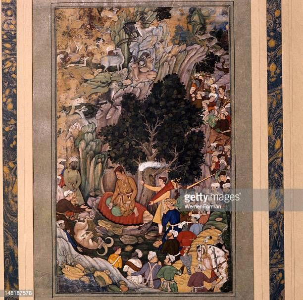 An illustration to a manuscript of Akbarnama or 'The History of 'Akbar' Akbar's remorse on the hunting field India Moghal circa 1600