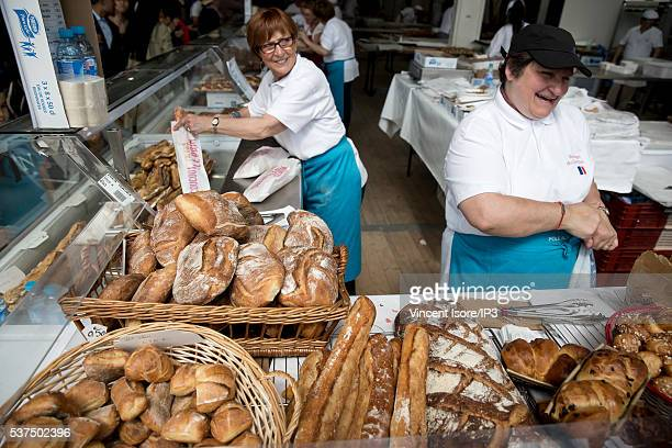 An illustrative picture showing the making of french bread in a bakery during the annual Bread Fair on May 21 2016 in Paris France
