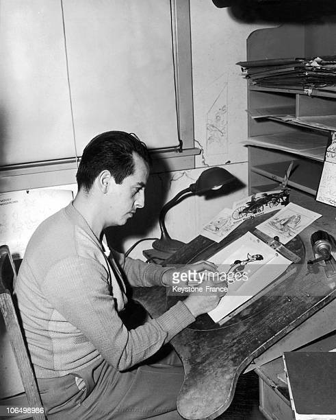 An Illustrator Working On A Sketch Of Woody Woodpecker At The Walter Lantz Studios Around 1935.