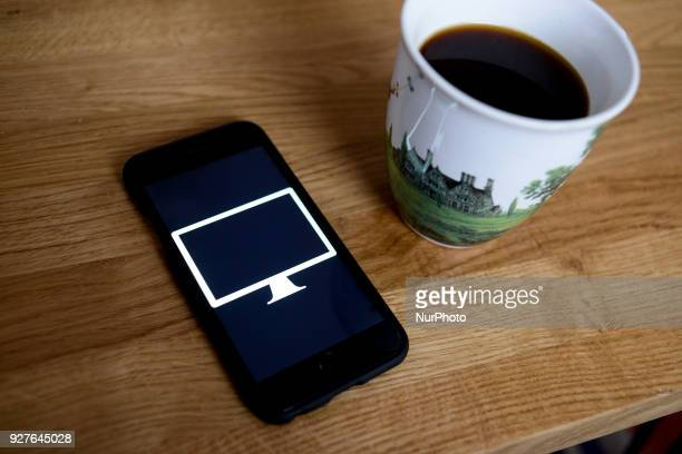 An iMac logo is seen on an iphone in this photo illustration on March 5 2018