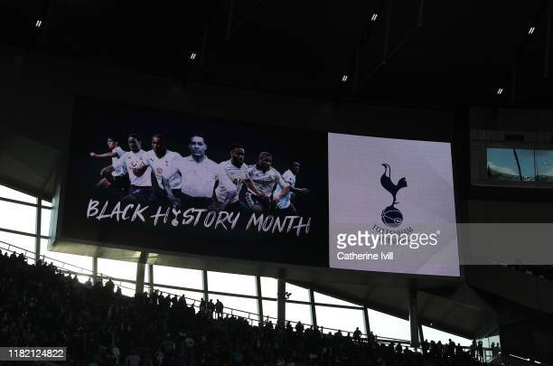 An image celebrating Black History Month is displayed on the screen during the Premier League match between Tottenham Hotspur and Watford FC at...