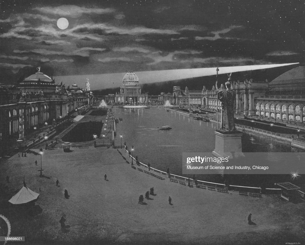 An image depicting nighttime on the Grand Basin at the World's Columbian Exposition in Chicago, Illinois, 1893. This image was published in 'The Dream City-World's Fair Art Series 16' by N. D. Thompson Publishing Company, 1893.