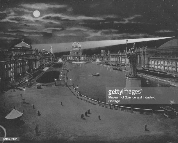 An image depicting nighttime on the Grand Basin at the World's Columbian Exposition in Chicago Illinois 1893 This image was published in 'The Dream...