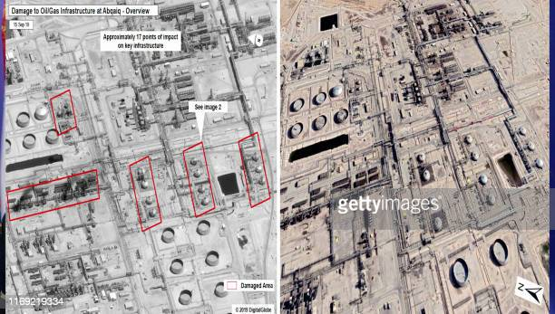 An image grab taken from a video made available by alHuthi Media Office on September 18 2019 shows what they say are satellite images of before and...
