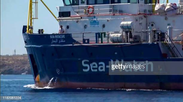 An image grab taken from a video released by Local Team on June 26 shows the Sea-Watch 3 NGO boat heading towards the Lampedusa island, on the...