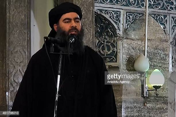 An image grab taken from a video released on July 5 2014 by AlFurqan Media shows alleged Islamic State of Iraq and the Levant leader Abu Bakr...