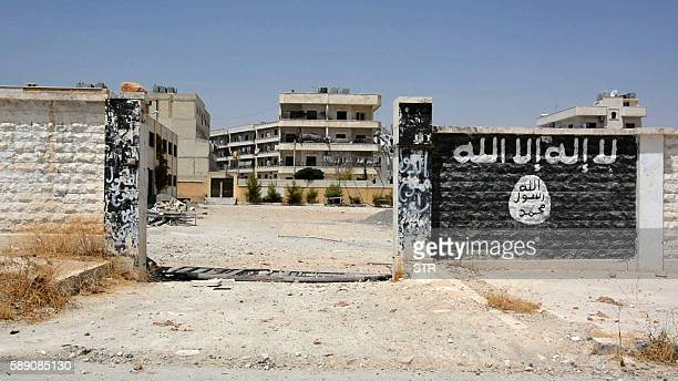 An image grab taken from an AFP video dated from August 12 2016 shows a school that was used by Islamic State group's fighters to manufacture...