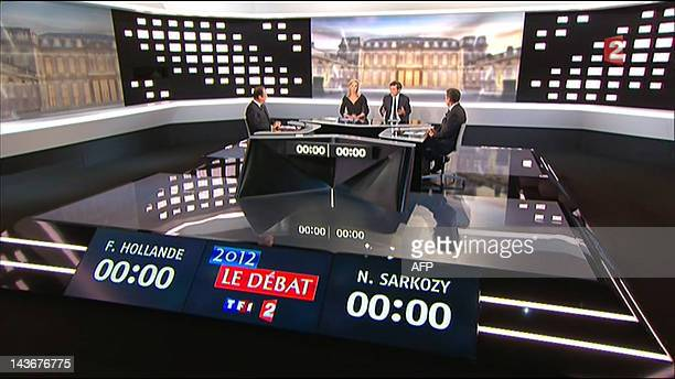 An image grab taken from French TV France 2 shows the candidates for the 2012 French presidential election France's Socialist Party 's Francois...