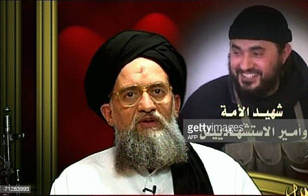 An image grab taken from Qatarbased AlJazeera television 23 June 2006 shows footage of AlQaeda number two Ayman alZawahiri vowing to avenge the death...