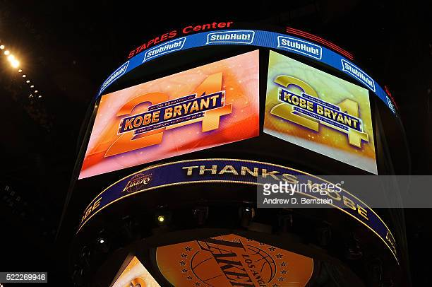 An image honoring Kobe Bryant appears on the jumbotron during the Los Angeles Lakers game against the Utah Jazz at STAPLES Center on April 13 2016 in...