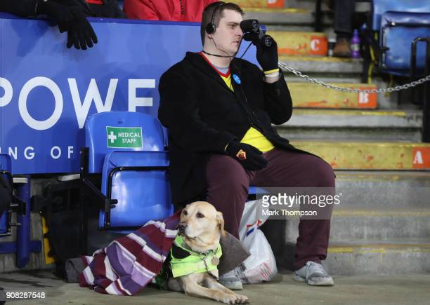 An image impaired football fan with his seeing dog during the Premier League match between Leicester City and Watford at The King Power Stadium on...