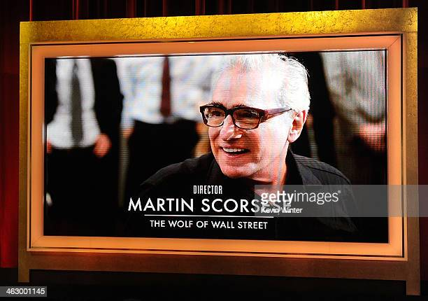 An image is displayed on a big screen onstage of Best Director nominee Martin Scorsese for his directorial role in the film 'The Wolf of Wall Street'...
