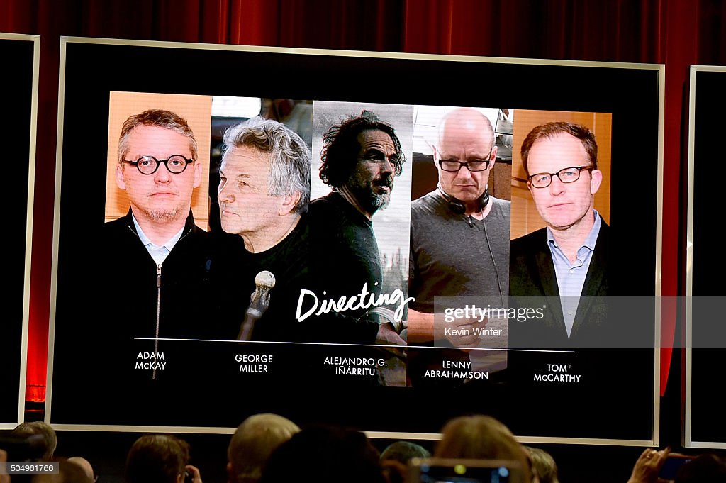 An image is displayed onstage of the nominees for Achievement in Directing during the 88th Oscars Nominations Announcement at the Academy of Motion Picture Arts and Sciences on January 14, 2016 in Los Angeles, California.