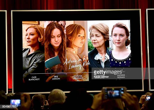An image is displayed onstage of the nominees for Best Performance by an Actress in a Leading Role during the 88th Oscars Nominations Announcement at...