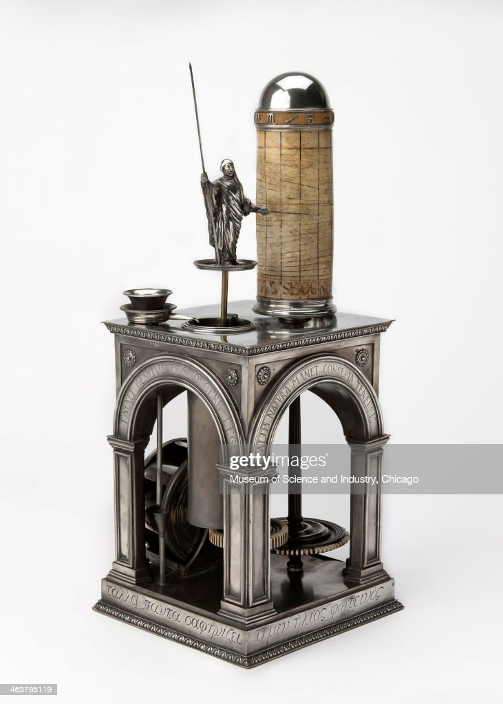 An image of a 1930s silver replica Roman water clock, or clepsydra, made by the Elgin National Watch Company and from a collection of timekeeping artifacts at the Museum of Science and Industry, Chicago, Illinois, June 10, 2013.