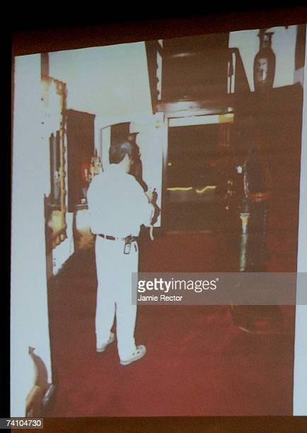 An image of a crime scene photo from Phil Spector's home is projected in the courtroom during music producer Phil Spector's murder trial at Los...