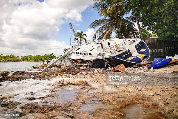 An image of a destroyed Russian luxury yacht on a beach after Hurricane Matthew hit Dominican Republic and many other Caribbean Countries on October...