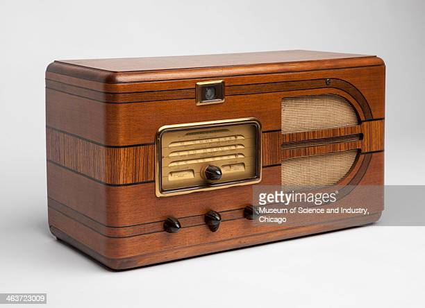 An image of a General Electrical AM short wave table radio circa 1938 with an Art Deco wood cabinet from a collection of audio and communication...
