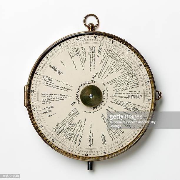 An image of a Jones Live Map circa 1915 a navigation device that attached to a car's odometer and provided directions to drivers on preprinted paper...
