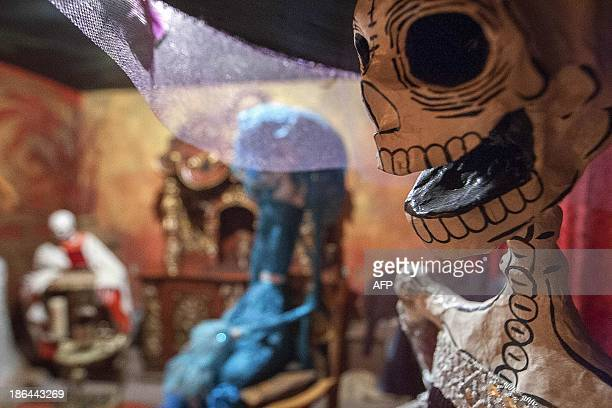 An image of a Katrina symbolizing the dead created by cartoonist Jose Guadalupe Posada is displayed at the Catrina Museum in Saltillo Coahuila state...