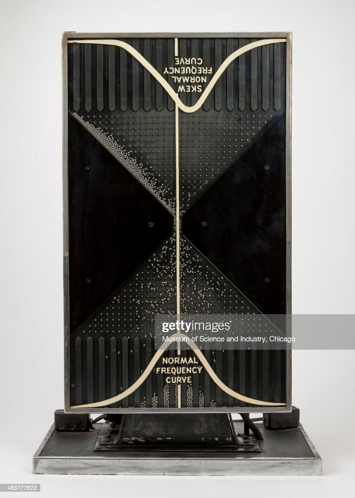 An image of a Quincunx or Probability Machine from the 1933 A Century of Progress World's Fair, based on a device originally invented by Sir Francis Galton in 1873 to demonstrate natural distribution according to the frequency of curves in mathematics, from a collection of scientific artifacts at the Museum of Science and Industry, Chicago, Illinois, June 11, 2013.