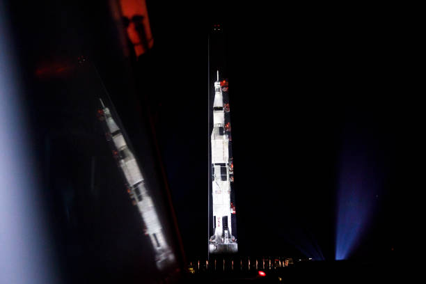 DC: Image Of Saturn V Rocket Projected Onto Washington Monument In Honor Of Apollo 11