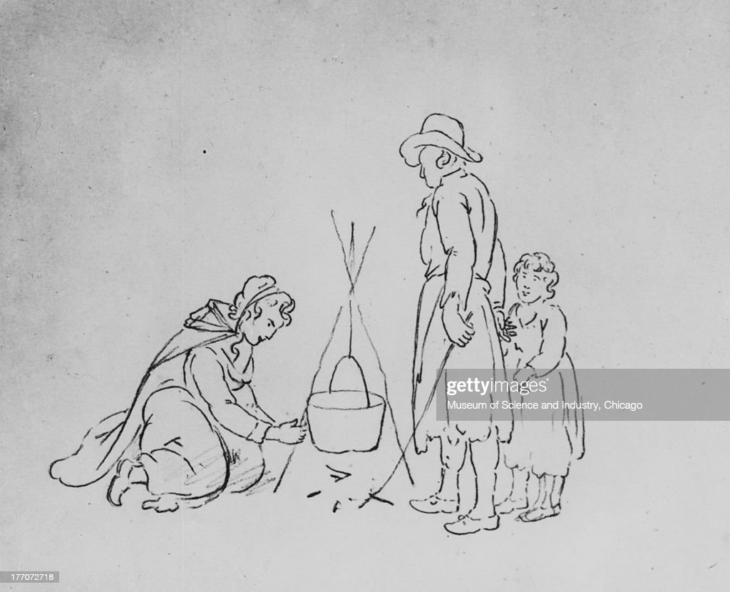 An Image Of A Sketch By Joshua Shaw Depicting Woman Cooking Over Camp Fire
