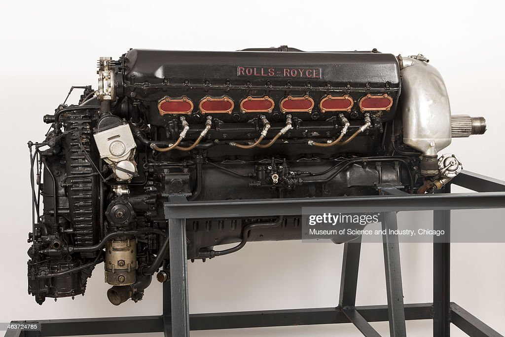 An image of a V12 liquid cooled Merlin III airplane engine built in 1941 or 1942 by Rolls Royce in Derby, England and used in the British World War II Supermarine Spitfire fighter plane, from the aircraft collection at the Museum of Science and Industry, Chicago, Illinois, June 6, 2013.