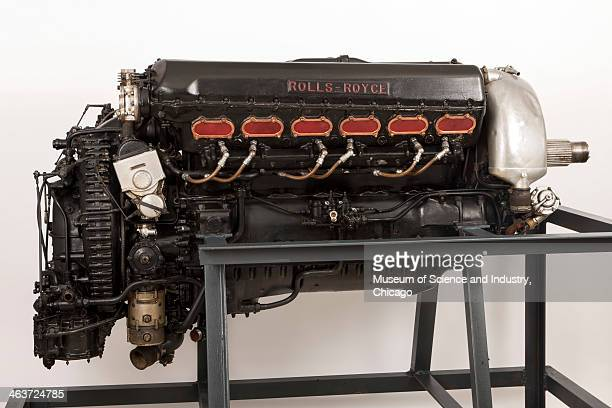 An image of a V12 liquid cooled Merlin III airplane engine built in 1941 or 1942 by Rolls Royce in Derby England and used in the British World War II...