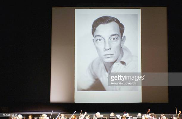 An image of actor Buster Keaton is projected onto a giant screen at the 15th Anniversary of the Los Angeles Chamber Orchestra's Silent Film Festival...