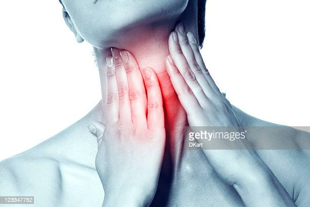 An image of acute pain in the throat of a young women