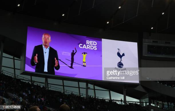 An image of Alan Shearer on the big screen explaining the VAR procedure ahead of the Premier League match between Tottenham Hotspur and Watford FC at...